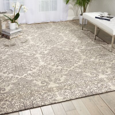 Platine Hand-Woven Beige Area Rug Rug Size: 93 x 129