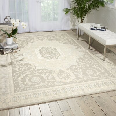 Platine Hand- Woven Beige Area Rug Rug Size: 53 x 75