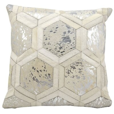 Natural Leather Hide Throw Pillow Color: White Silver