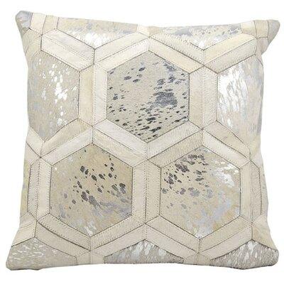 Priyanka Leather Throw Pillow Color: White/Silver