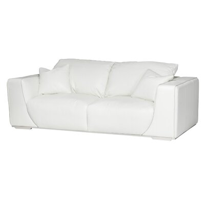 Mia Bella Sophia Leather Sofa Upholstery: White