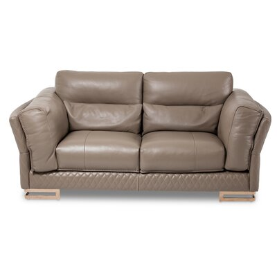 Mia Bella Monica Leather Loveseat