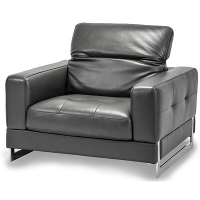 Mia Bella Novelo Leather Club Chair Upholstery: Genuine Leather Dark Grey