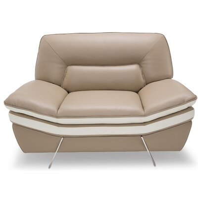 Mia Bella Carlin Leather Club Chair Upholstery: Leather Match Mocha