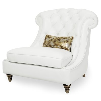 Mia Bella Damario Tufted Leather Barrel Chair