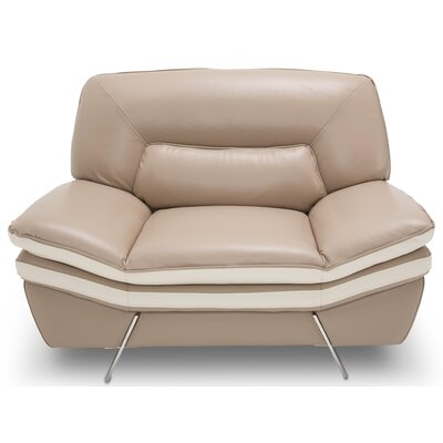 Mia Bella Carlin Leather Club Chair Upholstery: Genuine Leather Taupe