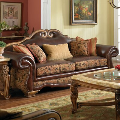 Toscano High Back Leather Sofa Upholstery: Brick