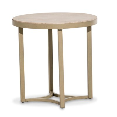 Alta Round End Table Color: Travertine