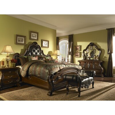 Palace Gates Tufted Leather Mansion Platform Customizable Bedroom Set