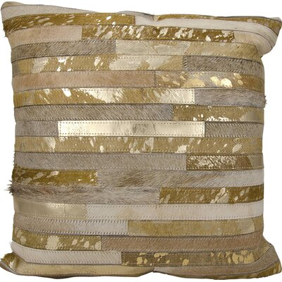 Corben Leather Throw Pillow Color: Beige