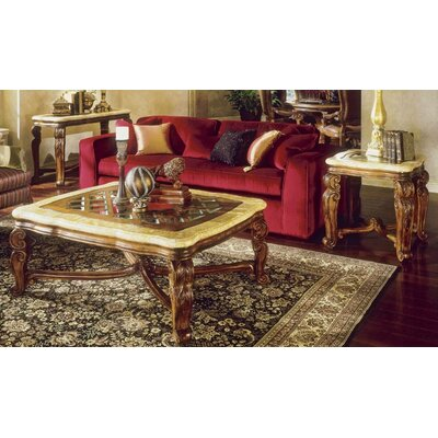Buy Low Price Aico Eden Occasional Table Set In Amaretto Ico1080 Coffee Table Bargain