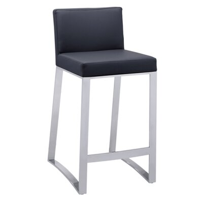 26 Bar Stool with Cushion Upholstery: Black