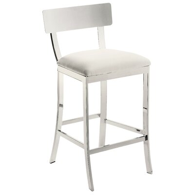 Ikon Maiden 26 inch Bar Stool with Cushion Upholstery: White