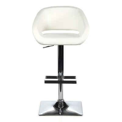 Urban Unity Gustavo Adjustable Height Swivel Bar Stool with Cushion Upholstery: White