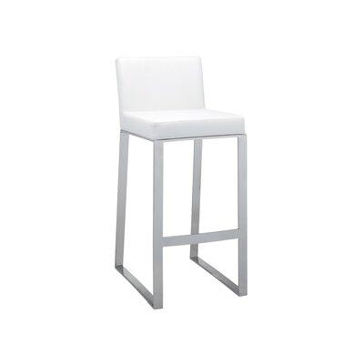 Ikon Architect Bar Stool Upholstery: White