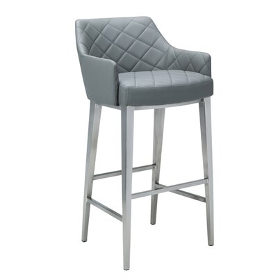 Ikon Chase 39.5 inch Counter Stool with Cushion Upholstery: Grey