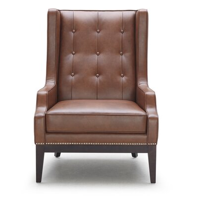 5West Biblioteca Leather Wingback Chair Upholstery: Brown