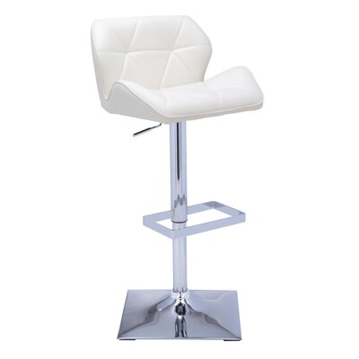 Urban Unity Boulton Adjustable Height Swivel Bar Stool with Cushion Upholstery: White