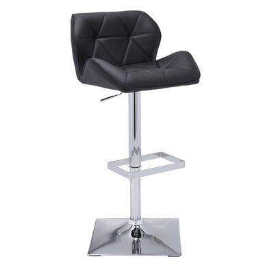 Urban Unity Boulton Adjustable Height Swivel Bar Stool Upholstery: Black