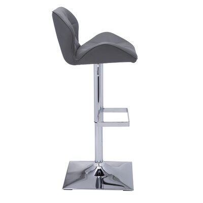 Urban Unity Boulton Adjustable Height Swivel Bar Stool with Cushion Upholstery: Grey
