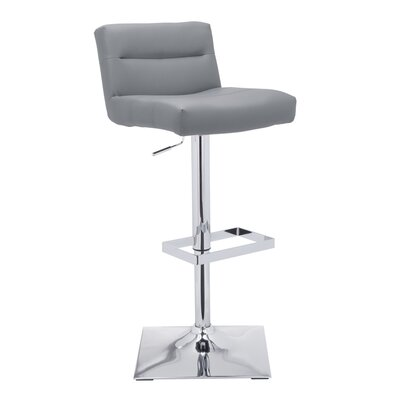 Urban Unity Stafford Adjustable Height Swivel Bar Stool with Cushion Upholstery: Grey