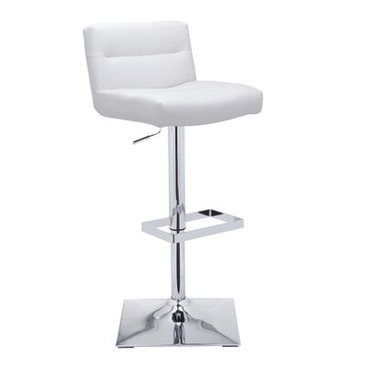 Urban Unity Stafford Adjustable Height Swivel Bar Stool with Cushion Upholstery: White