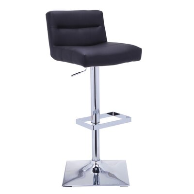 Urban Unity Stafford Adjustable Height Swivel Bar Stool with Cushion Upholstery: Black