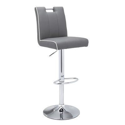 Urban Unity Kalvin Adjustable Height Swivel Bar Stool Upholstery: Grey