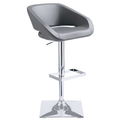 Urban Unity Gustavo Adjustable Height Swivel Bar Stool with Cushion Upholstery: Grey