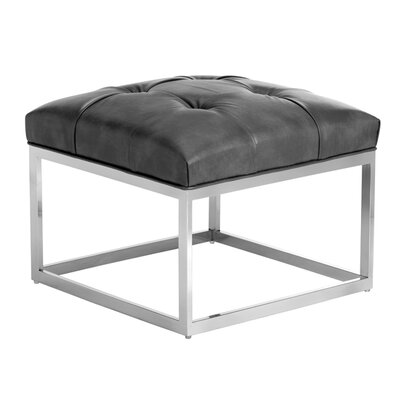 Club Sutton Small Leather Ottoman Upholstery: Grey