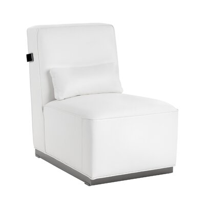 Club Brosnan Side Chair Finish: Polished stainless steel, Upholstery: White