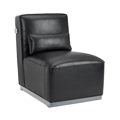 Club Brosnan Side Chair Color: Black, Finish: Polished stainless steel