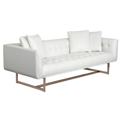 Matisse Leather Chesterfield Sofa Upholstery: White