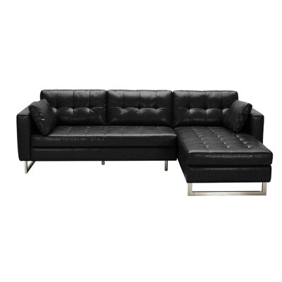 5West Leather Sofa Upholstery: Black Fog