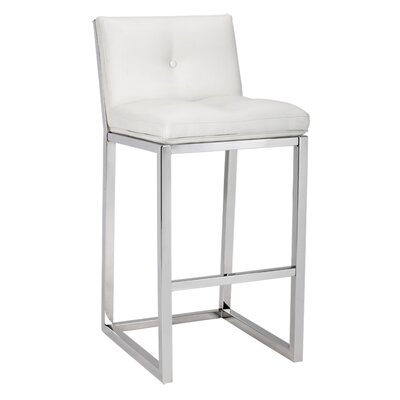 Alba 38 Bar Stool Upholstery: White