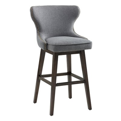 Ariana Swivel Bar Stool with Cushion Upholstery: Dark Gray
