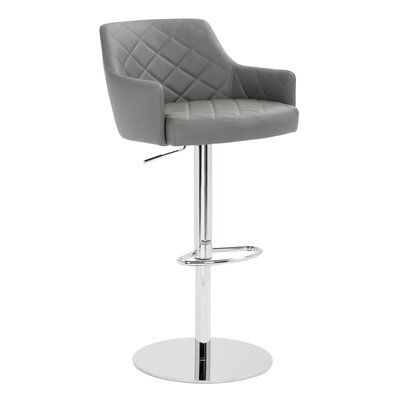 Chase Adjustable Height Bar Stool with Cushion Upholstery: Graphite
