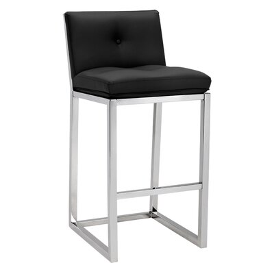 Alba 29.5 Bar Stool with Cushion Upholstery: Black