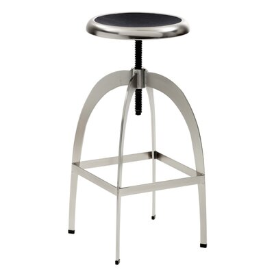 Colby Adjustable Height Bar Stool with Cushion Upholstery: Black