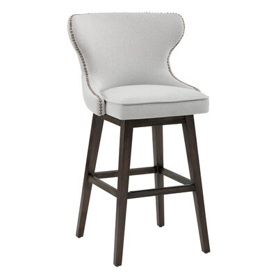 Ariana Swivel Bar Stool with Cushion Upholstery: Light Gray