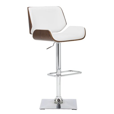 Kinley Adjustable Height Swivel Bar Stool Upholstery: Snow