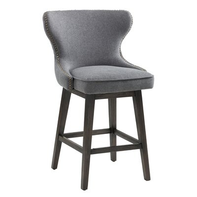 Ariana Height Bar Stool Upholstery: Dark Grey