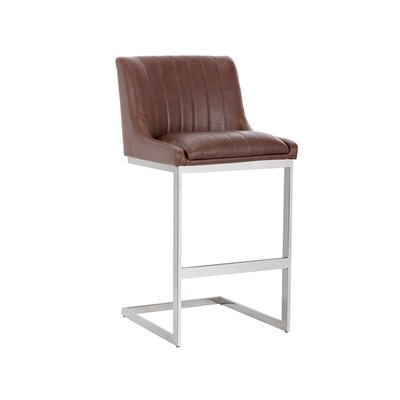 Halden Bar Stool Upholstery: Cognac