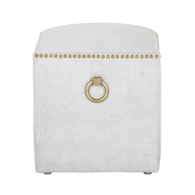 Phoebe Leather Cube Ottoman Upholstery: White