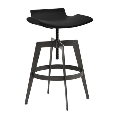 Urban Unity Adjustable Height Bar Stool Upholstery: Onyx