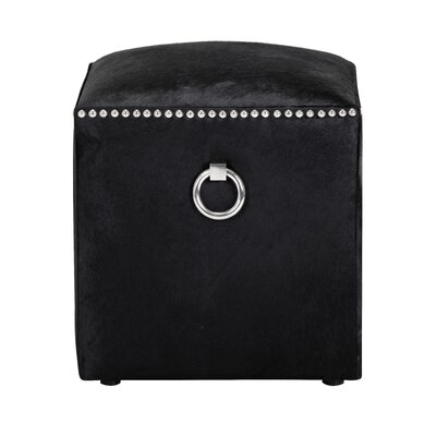 Phoebe Leather Ottoman Upholstery: Black