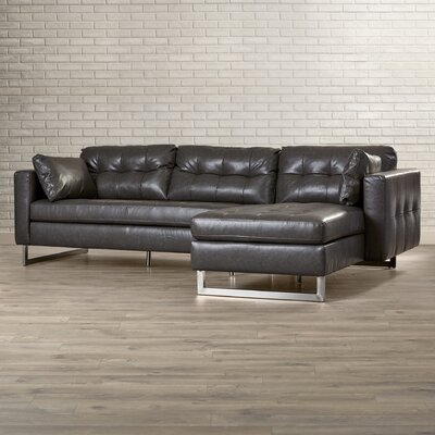 5West Leather Sofa Upholstery: Ash Grey