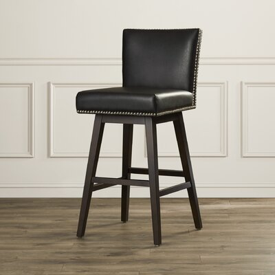 West Vintage 30 inch Swivel Bar Stool with Cushion Upholstery: Black