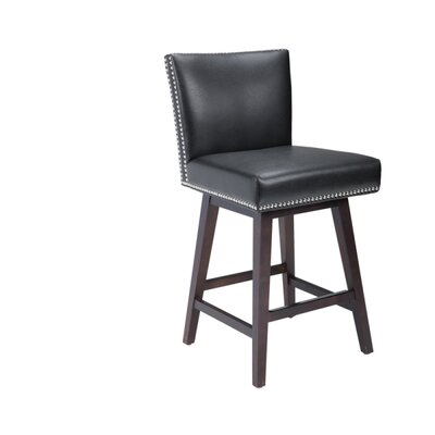 5West Vintage 26 Swivel Bar Stool Upholstery: Black