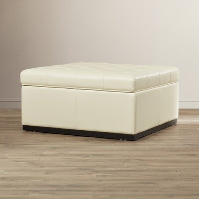 5West Leather Storage Ottoman Upholstery: Cream